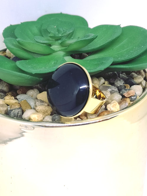 """Ring ingelegd met een hars cabochon """"zwart"""" M422"""