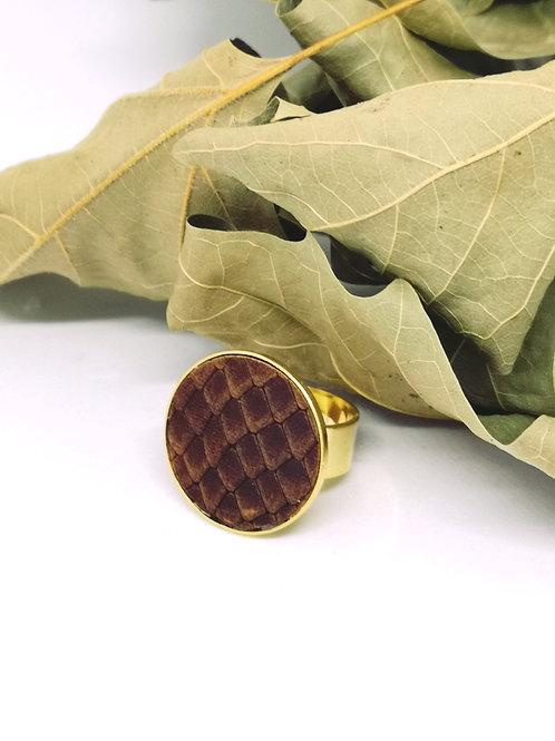 Ring ingelegd met bruin rundsleder met slangenprint M2
