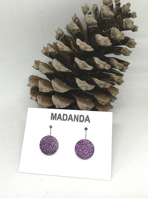 Hang oorbellen kort model ingelegd met paars/zwart craquelé N153