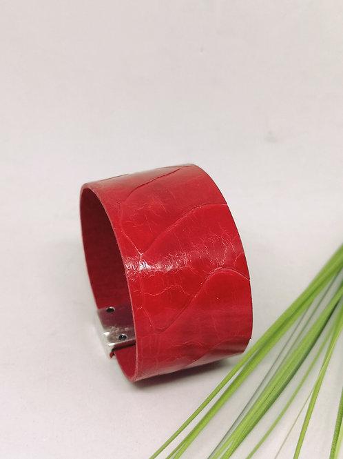 Armband in rood struisvogel leder N04