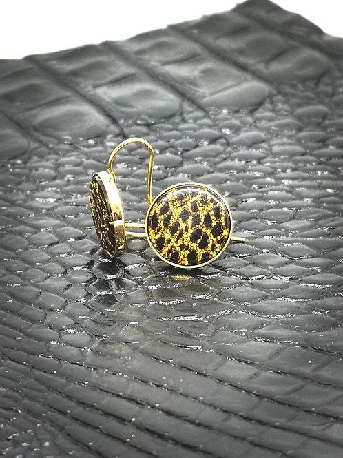 Oorbellen in noir/gold hars , M160