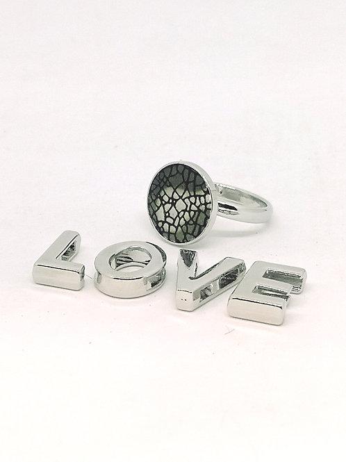 Ring ingelegd met rundsleder in camoeflageprint N84