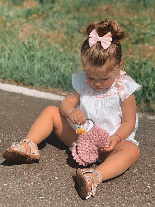 Hand gehaakte kinderhandtas (roze).H3
