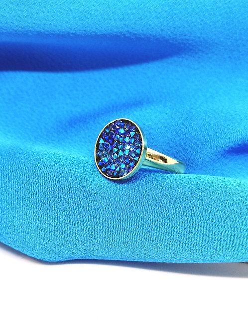 """Ring ingelegd met swarovski """"cobalt blauw"""" M116"""