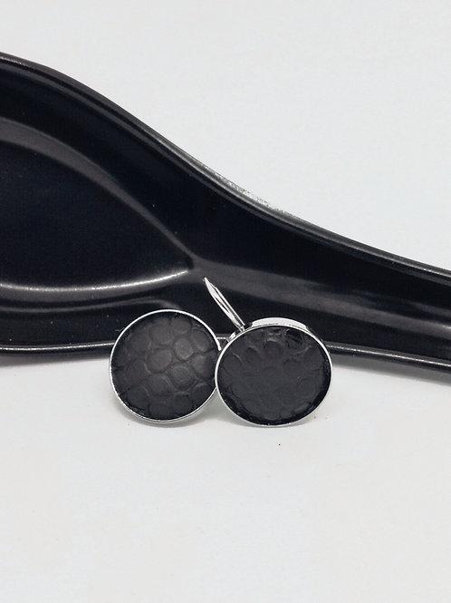 Oorbellen in zwart rundsleder met slangenprint N28