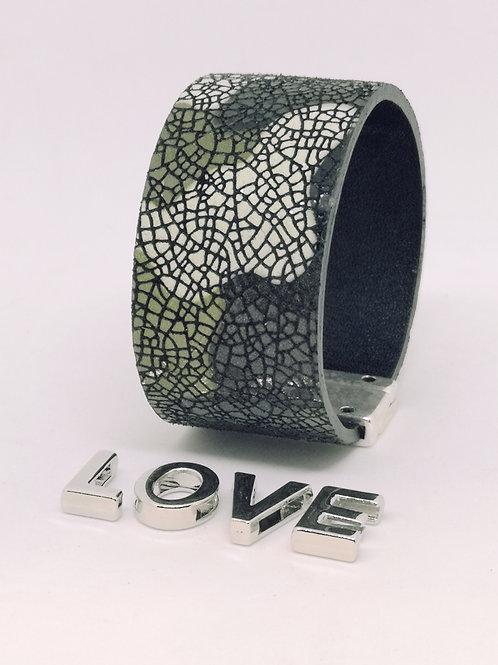 Armband in rundsleder met camoeflageprint P7