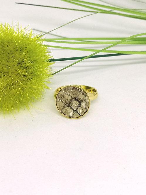 Ring in beige/goud rundsleder M201