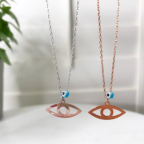 Eye Shaped Pendant with Evil Eye Bead Necklace