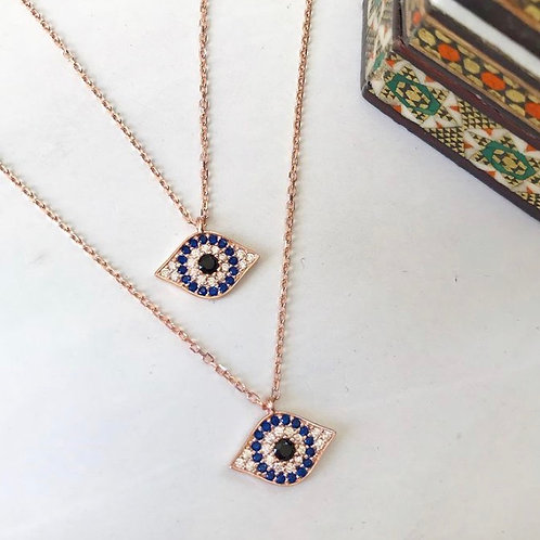Evil Eye Shaped Sparkly Pendant Necklace