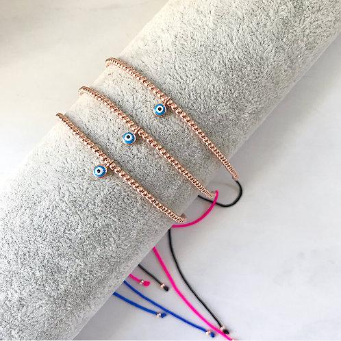 Gold Bead Bracelet/Anklet Evil Eye Charm