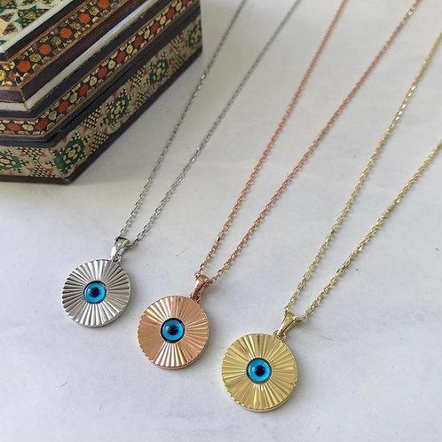 Evil Eye Gold Surround Disc Pendant Necklace