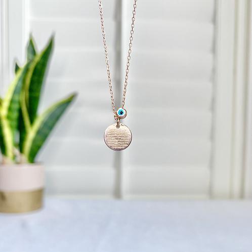 Mini Prayer Disc with Evil Eye Bead Necklace