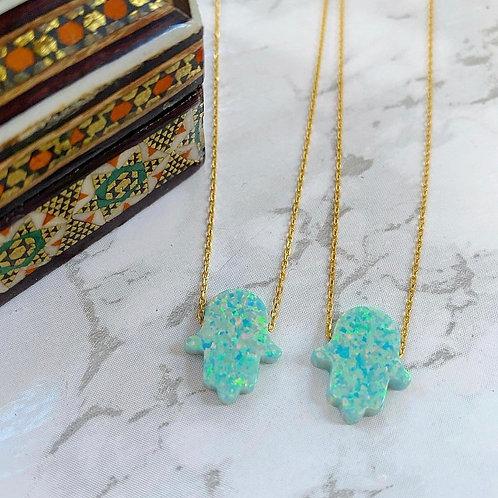 Hamsa Opal Pendant Necklace