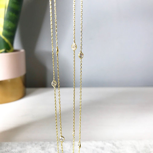 Elegant Long Diamond Necklace