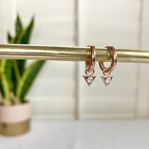 Huggie Diamond Triangle Charm Earrings
