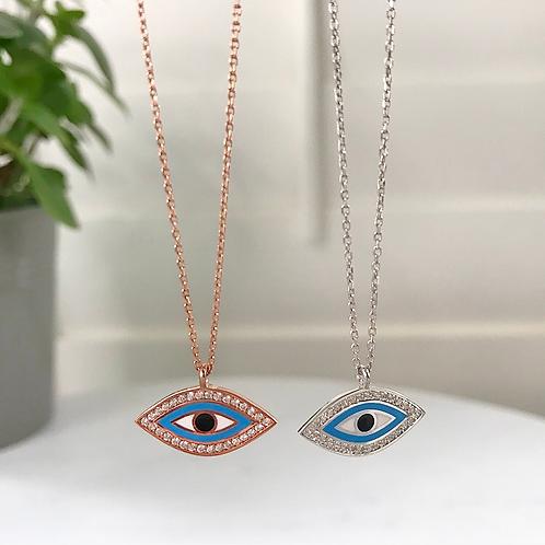 Sparky Eye Shape Diamond Pendant Necklace