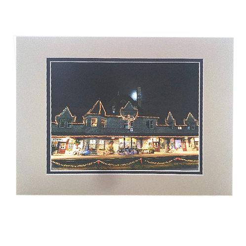 Print - Station Lit with Christmas Lights