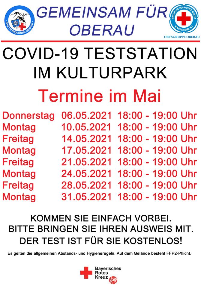 COVID-19 Teststation im Kulturpark Oberau eröffnet am Donnerstag den 06.05.2021