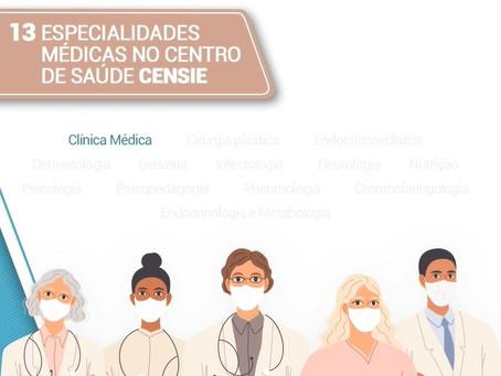 13 especialidades médicas no centro de saúde CENSIE
