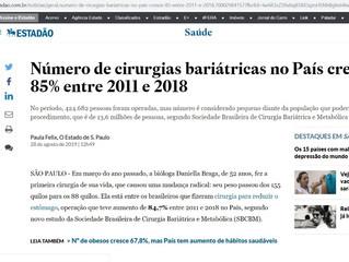 Dados sobre bariátrica é notícia destaque no Estadão