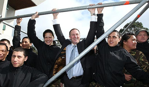 John Key prime minister with youth
