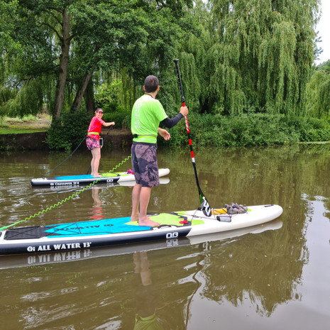 """""""Had a great private lesson for my husband and I from Helen at Teston. She taught us a lot of technical skill and helped us to really improve on the boards - while having a pretty awesome time on the river! Her passion for all things SUP shone through - she shared extra tips with us and for taking on supping as a family activity which we really appreciated. We couldn't have asked for a better experience! Thanks Helen."""" - Annemarie R"""
