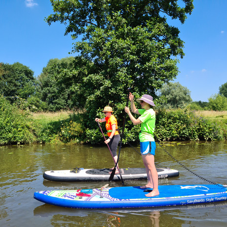 """""""My friend and I had such a fun time in our SUP lesson with Helen at Teston Country Park. Such a beautiful location for a gentle and peaceful paddle down the river. Helen was very knowledgeable and helpful in explaining not just the SUP technique but what we would need to know if we wanted to get into the sport ourselves."""" - Abby H"""