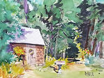 """Walter's Shed"" a pleinair watercolor by Diane Bell"