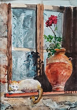 """""""Kitty on the Sill"""" by Diane Bell"""