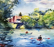 """On the water"" an original watercolor of Medford, MA by Diane Bell"