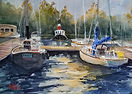 """Tug between Two sails"" a New Hampshir watercolor scene by Diane Bell"