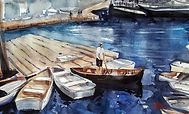 """moorings"" a Maine watercolor by Diane Bell"