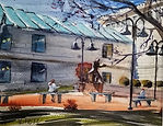 Franklin Library in MA painted by Diane Bell