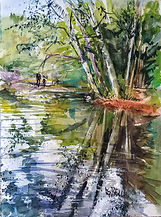 """Pond Reflections"" a woodland watercolor scene by Diane Bell"