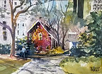Watercolor painting from Union Street, Franklin, MA by Diane Bell