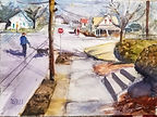 """Hillside Walk"" ; watercolor scene in Franklin, MA by Diane Bell"