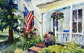 """The Parsonage"" is an original watercolor painted by Diane G Bell. This house is part of the Old Parish Church on Main Street in Weston."