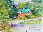 """On the Road""  scene in Shewsbury, VT a watercolor by Diane Bell"