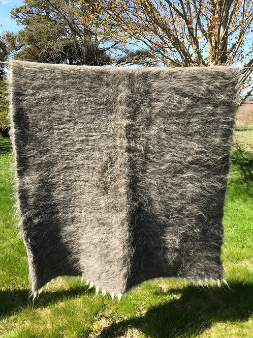 Lizhnyk -solid grey 100% wool traditional blanket
