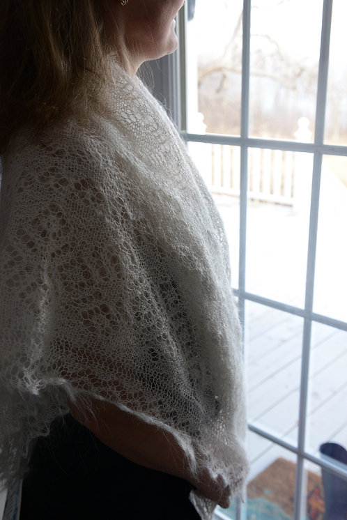 Beautiful Hand Knitted Orenburg Shawl made from Goat Down