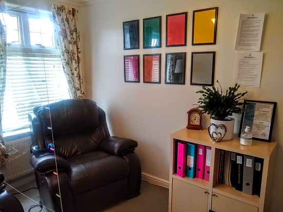 Therapy room at Houghton Hypnotherapy