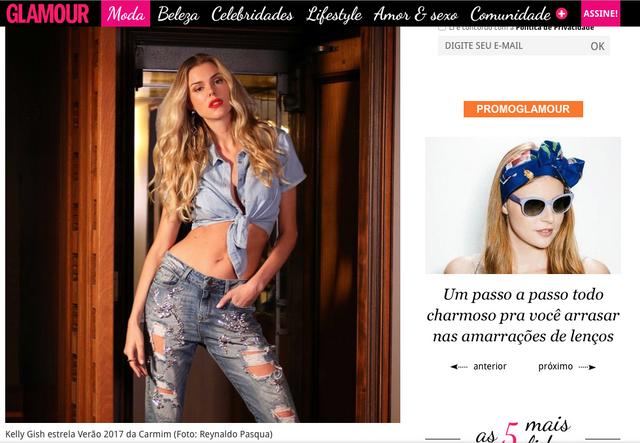 Matéria no site da revista GLAMOUR sobre a nova campanha Carmim que eu fotografei
