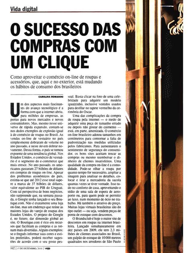 Entrevista para Revista VEJA nacional / dezembro 2010