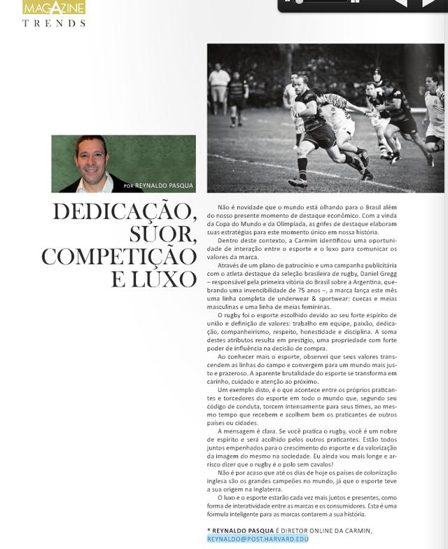 Dedicação, Suor, Competição e Luxo - Matéria para A Magazine - Setembro 2011
