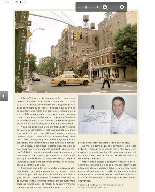 Matéria completa - Luxury Interactive 2011 - NYC - A Magazine edição de Agosto