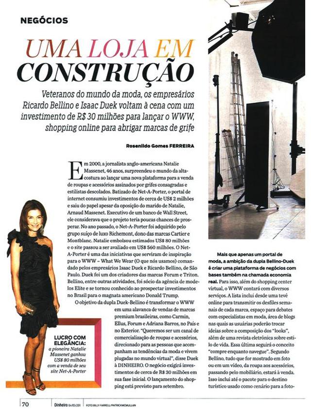 Entrevista para matéria de ecommerce - Revista Isto É Dinheiro / maio 2011