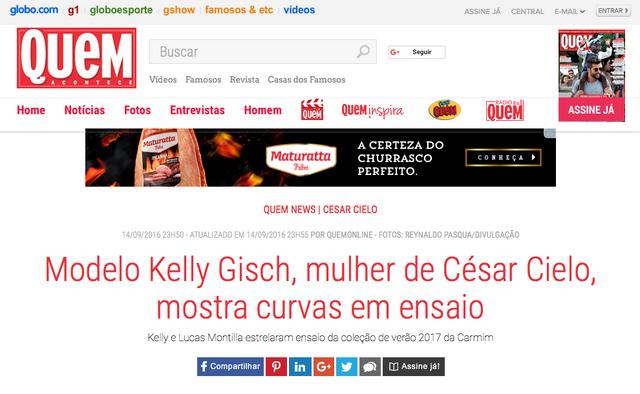 Matéria no site da revista QUEM sobre a nova campanha Carmim que eu fotografei e do lançamento do no