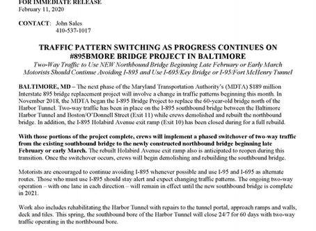 TRAFFIC PATTERN SWITCHING AS PROGRESS CONTINUES ON #895BMORE BRIDGE PROJECT IN BALTIMORE