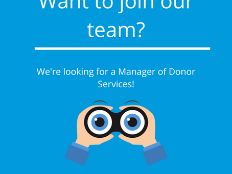 We're hiring! Manager of Donor Services