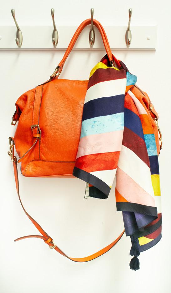 Tory Burch Scarf & Orange Bag